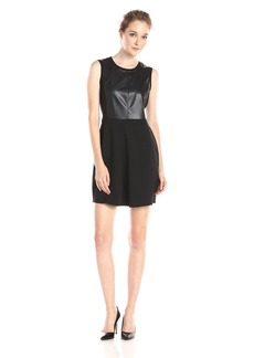 BCBGMax Azria Women's Adison Blocked Sleeveless A-Line Dress