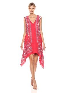 BCBGMax Azria Women's Alena Woven Sleeveless Scarf Printed Dress  L