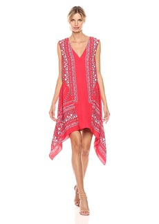 BCBGMax Azria Women's Alena Woven Sleeveless Scarf Printed Dress  S