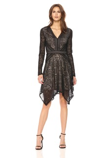 BCBGMax Azria Women's Alex Knit Stretch Lace V-Neck Dress  XS
