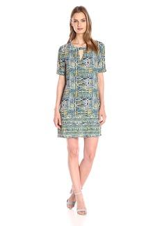 BCBGMax Azria Women's Andie Print-Blocked Short-Sleeve Dress
