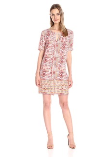 BCBGMax Azria Women's Andie Print-Blocked Short-Sleeve Dress