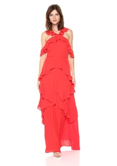 BCBGMax Azria Women's Audrianna Woven Ruffled Cold Shoulder Halter Dress