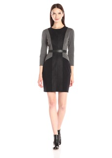 BCBGMax Azria Women's Beatriz Paneled Long Sleeve Dress