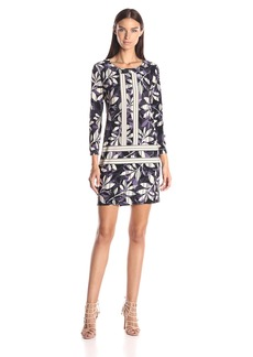 BCBGMax Azria Women's Calico Printed Shift Dress with 3/4 Sleeves