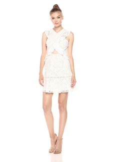 BCBGMax Azria Women's Careen Cross Front Lace Knit Evening Dress