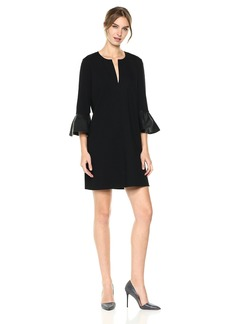 BCBGMax Azria Women's Catier Knit Dress With Faux Leather Peplum Sleeves  L