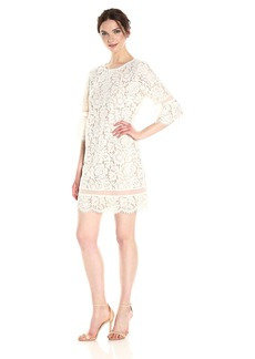 BCBGMax Azria Women's Celestia Knit Lace Bell Sleeve Dress  XS