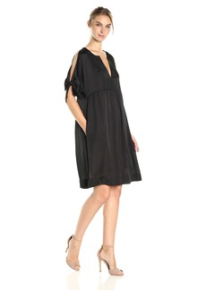 BCBGMax Azria Women's Chara Cold Shoulder Tie-Sleeve Woven Casual Dress  S