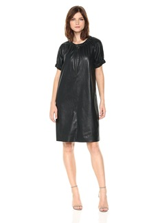 BCBGMax Azria Women's Dina Knit Faux Leather Dress with Zip Detail  S