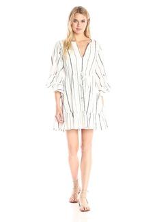 BCBGMax Azria Women's Emileigh Angel Sleeve Striped Woven Casual Dress  M