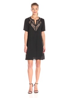 BCBGMax Azria Women's Eos Woven Dress with Lace Yoke