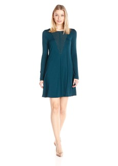 BCBGMax Azria Women's Farlow A-Line Dress with Mesh Yoke Detailing