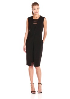 BCBGMax Azria Women's Foster Vest Dress with Lace Insert on Neckline