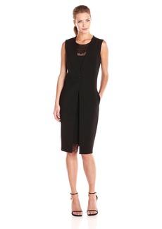 BCBGMax Azria Women's Foster Vest Dress with Lace Insert on Neckline
