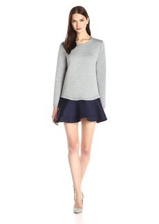 BCBGMax Azria Women's Genesa Long Sleeve Colorblock Hem Dress