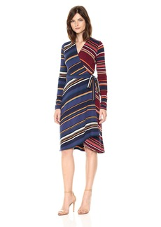 BCBGMAXAZRIA BCBGMax Azria Women's Gracee Knit Asymmetrical Striped Wrap Dress  L