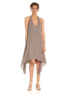 BCBGMAXAZRIA BCBGMax Azria Women's Haylee-V-Neck Drape Back Woven Cocktail Dress  L