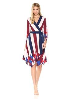 BCBGMax Azria Women's Isabella Knit Asymmetrical Striped Wrap Dress  M