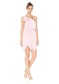 BCBGMax Azria Women's Juliet Woven Ruched One Shoulder Dress  L