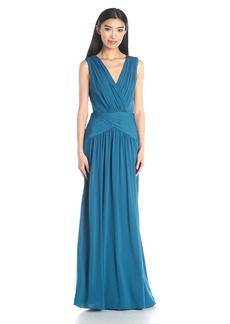 BCBGMax Azria Women's Kaeya V-Neck Draped Gown with Back Cutout