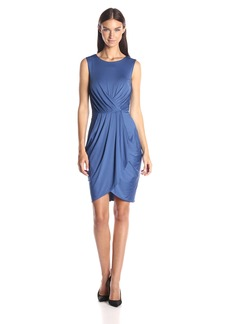 BCBG Max Azria BCBGMax Azria Women's Kaia Pleated Front Sleeveless Dress Draped Skirt