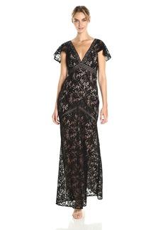 BCBGMax Azria Women's Katrina Short Cape Sleeved Lace Knit Evening Dress