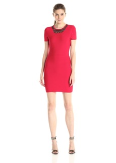 BCBGMax Azria Women's Kaylen Embellished Neckline Cocktail Dress