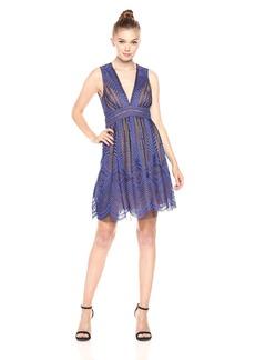BCBGMax Azria Women's Kellyn V-Neck Illusion Knit Evening Dress