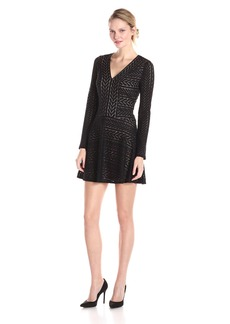 BCBG Max Azria BCBGMax Azria Women's Kinley Long Sleeve V-Neck A-Line Dress