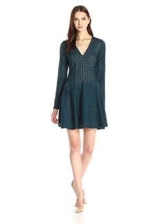 BCBGMax Azria Women's Kinley Long Sleeve V-Neck A-Line Dress