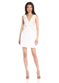 BCBGMax Azria Women's Kinsey Pleated Cocktail Dress with Lace Inset Bodice