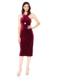 BCBG Max Azria BCBGMax Azria Women's Maren Knit Crushed Velvet Halter Dress  M
