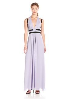 BCBGMax Azria Women's Margarette V-Neck Maxi Dress with Halter and Thin Straps