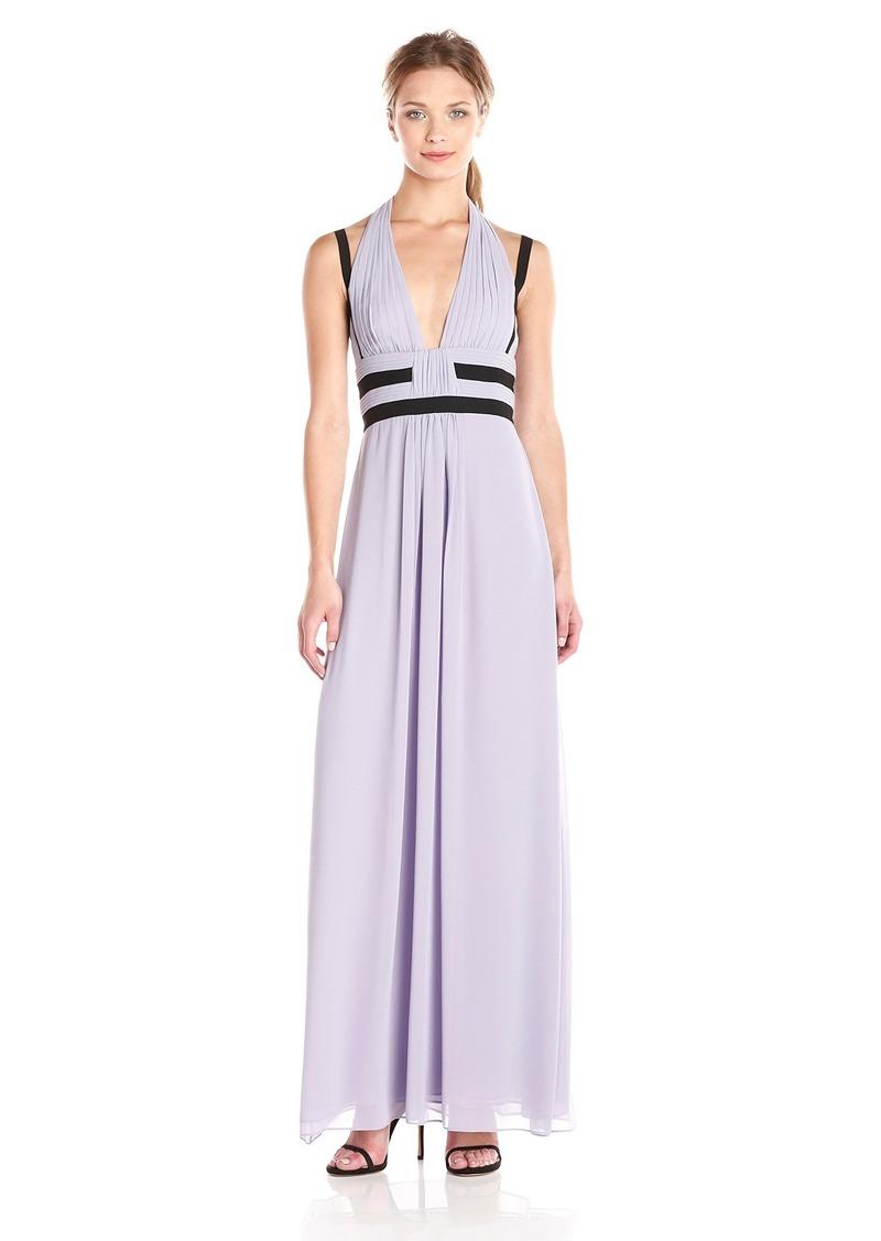 BCBG Max Azria BCBGMax Azria Women's Margarette V-Neck Maxi Dress with Halter and Thin Straps