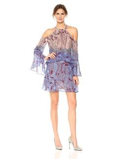 BCBG Max Azria BCBGMax Azria Women's Mariah Woven Paisley Cold Shoulder Dress  S