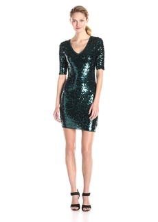 BCBGMax Azria Women's Maura V-Neck Sequin Dress