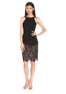 BCBGMax Azria Women's Reya Halter Dress Lace Hem