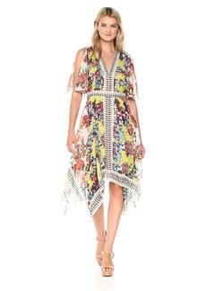 BCBGMax Azria Women's Roselle Flutter Sleeve Woven Printed Dress  L