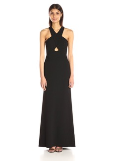 BCBGMax Azria Women's Salom Cross Over Halter Evening Dress