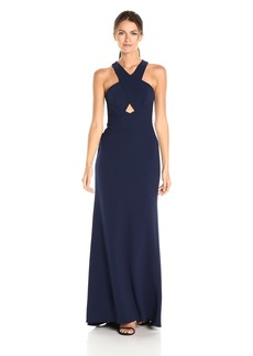 BCBG Max Azria BCBGMax Azria Women's Salome Cross Over Halter Woven Evening Dress