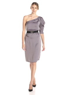 BCBGMax Azria Women's Side Draped Dress with Draped Sleeves