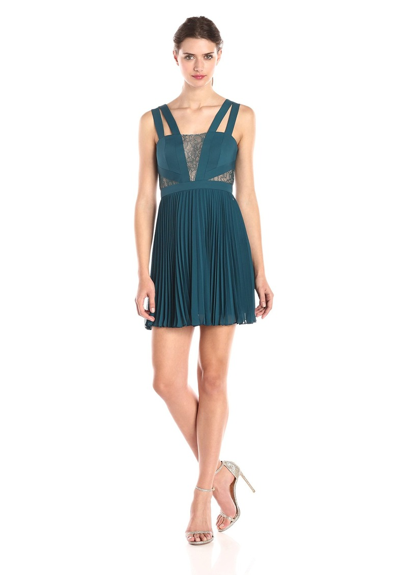 BCBGMax Azria Women's Tenzin Pleated Cocktail Dress with Lace Details
