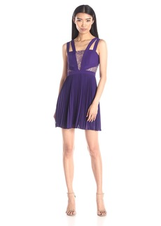 BCBGMax Azria Women's Tenzin Pleated Cocktail Dress with Lace Insets