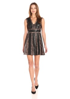 BCBG Max Azria BCBGMax Azria Women's Val Knit Faux Leather Dress