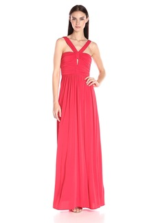 BCBGMax Azria Women's Valane Halter Gown with Keyhole