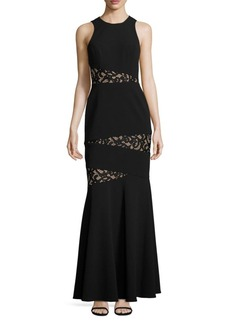 BCBGMAXAZRIA Asymmetrical Lace Inset Gown
