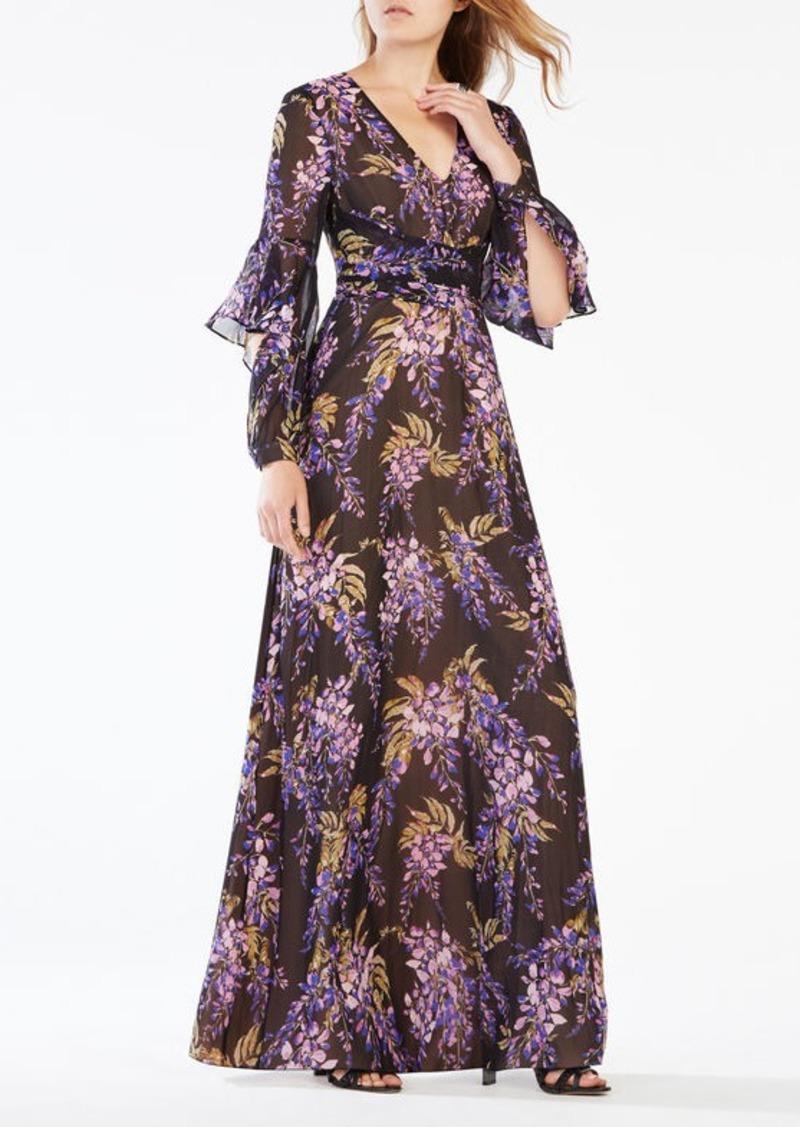 BCBG Beverle Floral Print Silk Gown