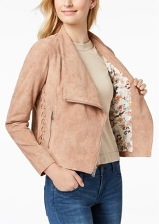 BGBGeneration Faux-Suede Lace-Up Moto Jacket