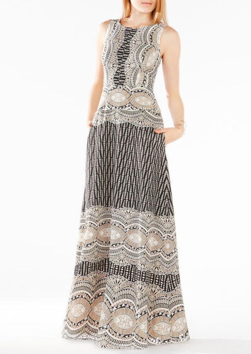 BCBG Brigetta Burnout Deco Print Mesh Gown